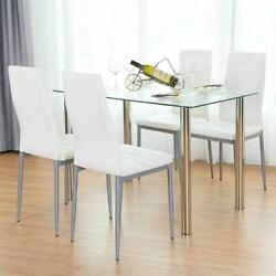 5 Piece Dining Table Set White 4 Chair Glass Metal Kitchen Dining Room Breakfast $198.99
