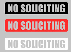 NO SOLICITING Sign Decal Sticker Vinyl for Door Window Wall Black White or Red $2.69