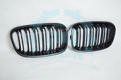 2Pcs Double Slat Front Grille Matte Black ABS For BMW 1-Series F20 2012-14