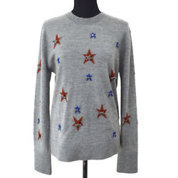 Authentic CHANEL Paris Dallas Star Long Sleeve Sweater Knit Gray #48 GS01089