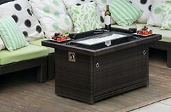 Outdoor Propane Gas Fire Pit Table Brown Modern Design 44-Inch For Patio Home