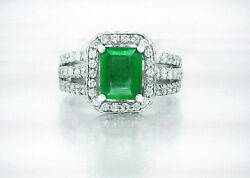 $20000 2.24ct 100% Natural Rich Green Colombian Emerald & 1.26ct Diamond Ring