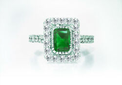 $8850 1.06ct 100% Natural Rich Green Colombian Emerald and 1 Carat Diamond Ring
