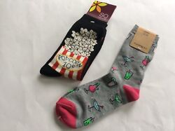 2 PAIRS WOMENS NOVELTY CREW SOCKS * COCKTAILS amp; POPCORN * GRAY BLK* SZ 9 11* NWL $9.89