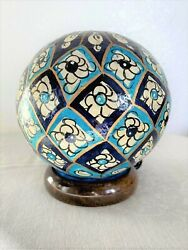 Handmade Lamp Camel Skin small size Round Blue Mosaic Decoration from Pakistan $54.99