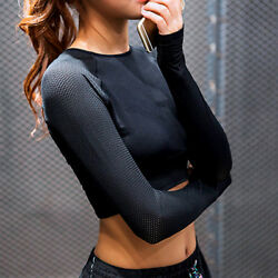 Womens Yoga Shirt Crop Top Style Long Sleeve Workout Fitness Athletic Sports Gym