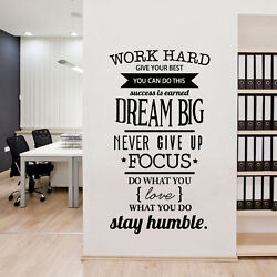 Office Motivational Quotes Wall Sticker Never Give Up Work Hard Vinyl Wall Decal $8.59
