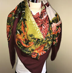 Mint Condition Auth Hermes GM Shawl Cashmere Silk Wrap 140cm Jungle Love Scarf