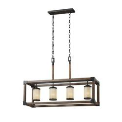 4 Light Chandelier Island Cage Candle Style Lighting Rustic Chain Hanging Gray
