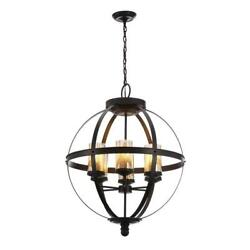 6 Light Chandelier Candle Style Cage Indoor Rustic Hanging Chain Ceiling Bronze