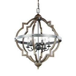 6 Light Pendant Chandelier Cage Candle Style Rustic Chain Hanging Ceiling Home