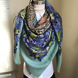 New Auth Hermes GM Shawl Cashmere Silk Wrap 140cm Jungle Love Scarf