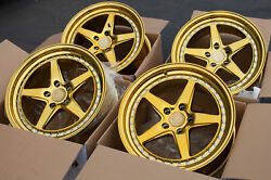 18x8.5 AodHan DS05 5x114.3 +35 Gold Vacuum Rims Fits Civic Rsx Tsx TL Rx8 (Used)