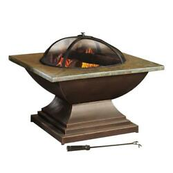 36 In Fire Pit Slate Portable Screen Outdoor Heating Wood Round Steel Black Home