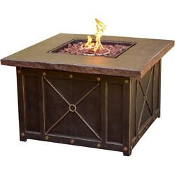 40 Inch Square Gas Fire Pit Outdoor Heater Garden Backyard Patio Durastone Top