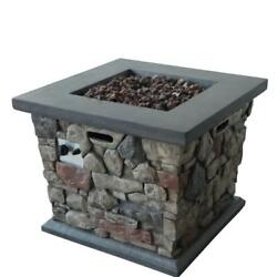 Fire Pit MGO Propane Square Table Stone Outdoor Heating Heat Patio Backyard Home