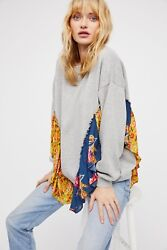 NEW FREE PEOPLE Sz S SHE'S JUST CUTE RUFFLED FABRIC TRIM PULLOVER SWEATSHIRT