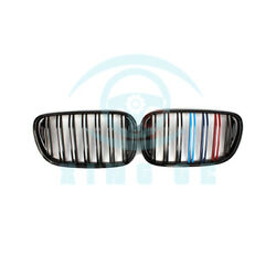 Car 2pcs Front Center Grille Replace For BMW 7Series G111213 2016+ Matte Black
