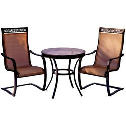 3 Piece Outdoor Bistro Set Table Chair Seat Furniture Garden Patio Glass Top New