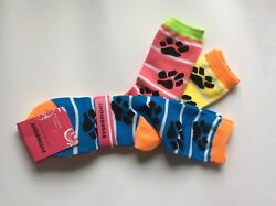 3 PAIRS WOMENS NOVELTY PAW PRINT CREW SOCKS *NWT * PINK BLUE YELLOW * FUN $8.99