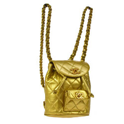 Auth CHANEL Quilted CC Chain Drawstring Backpack Bag Gold Leather VTG V30555