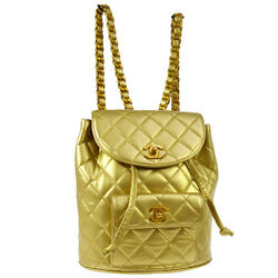 Auth CHANEL Quilted CC Chain Drawstring Backpack Bag Gold Leather VTG GS01276