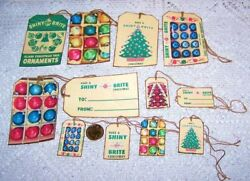 12 Christmas Vintage Retro Ornament Fussy Cut Linen Cardstock Gift Hang Tags $6.50