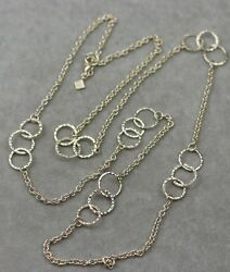 banana republic signed jewelry gold tone long necklace chain simple texture