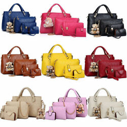 Set of 4 Women Leather Handbag Lady Shoulder Bag Tote Satchel Purse Card Holder $20.99