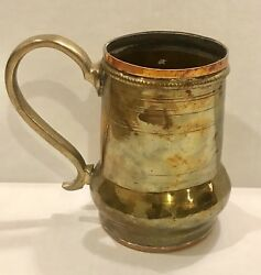 Antique Large Brass & Copper Beer TankardMug