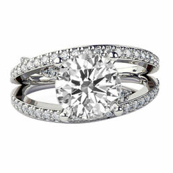 2.5 Ct E SI1 Diamond Engagement Ring 14K White Gold Multi Band Round Gift