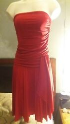 twenty one dress red strapless ruched size m $11.54