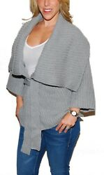 Polo Ralph Lauren Womens Cashmere Belted Wrap Cardigan Sweater Coat Gray Large
