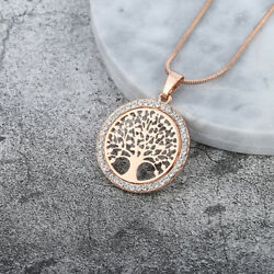 Tree Of Life Crystal Round Small Pendant Necklace Gold Silver Colors Jewelry