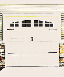 Garage Door Vinyl Decals: Arch Stockton Style Faux Windows with Hardware #B