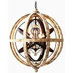 Rustic Chandeliers Retro Weathered Wooden Globe Metal Orb Crystal 5-Light Candle