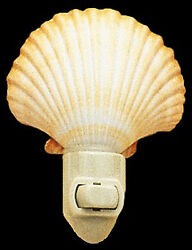 Real Seashell Night Light Mexican Deep Scallop  Shell Nautical Beach Decor Gift $9.99