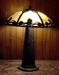 ART DECO IRON METAL HANDEL ERA TABLE DESK LAMP w GLASS SHADE TWO LIGHTS WIRED