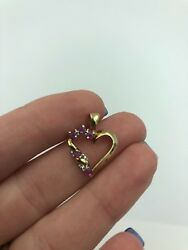Stunning Signed 925 Sterling Silver Heart Cut C Z Design Gold Tone Pendant #109