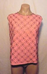 PARTY TIME...Dusty Pink 50s 60s Beaded Top w Back Zipper Bust 38