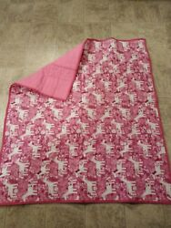 New quilted unicorn blankets pink white girls TODDLER AND BABIES