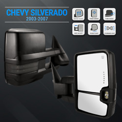 For 03-07 Silverado Black Tow Mirrors Extendable Power Heated LED Signals Pudd