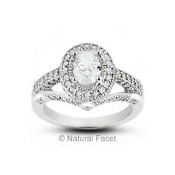 2.68ct tw ISI2Ideal Oval Certified Diamonds White Gold Halo Vintage Ring 7.2mm