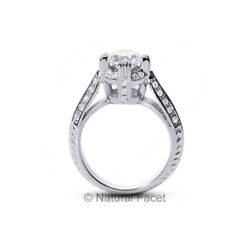 2.76 CTW GVS2VG Round Natural Diamonds White Gold Basket Pave Rows Ring 3.77mm