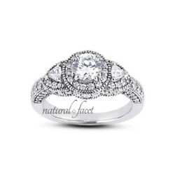 2.78ct IVS2Ideal Round Natural Diamond 14K Vintage Milgrain 3-Stone Ring 2.4mm