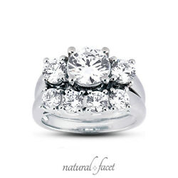 4.37ct tw DI1VG Round Natural Diamonds 18k White Gold Trellis Bridal Set 6.2mm