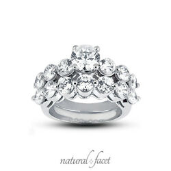 3.16ctw EI1Ideal Round AGI Diamonds White Gold Classic Basket Bridal Set 4.3mm