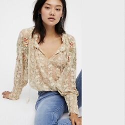NWT FREE PEOPLE Jubilee Embroidered Mesh Top Floral Ivory Boho MEDIUM M $89.00