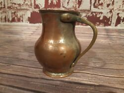 Antique Old Victorian Copper Plated Tin Lined Brass  Beer Ale Cup Jug Pitcher