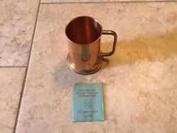 Coppercraft Guild CG Solid Brass Handle Beer Mug 5 Inch Marked